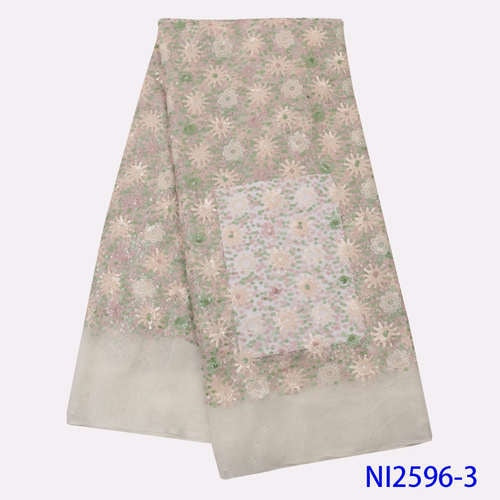 NIAI African Lace Fabric Embroidered Nigerian Sequins Lace Fabrics 2019 High Quality French Tulle Lace Fabric For Women NI2596-1