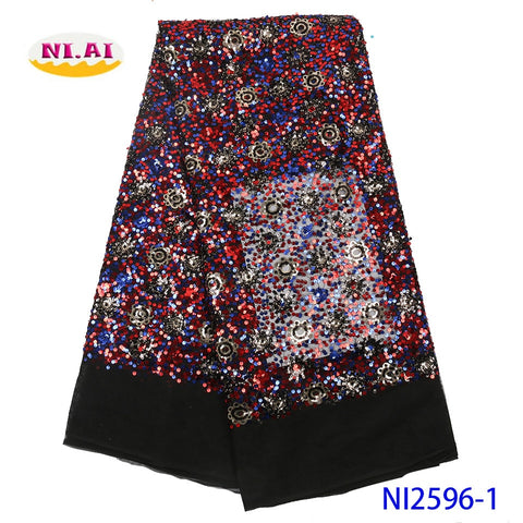 Image of NIAI African Lace Fabric Embroidered Nigerian Sequins Lace Fabrics 2019 High Quality French Tulle Lace Fabric For Women NI2596-1