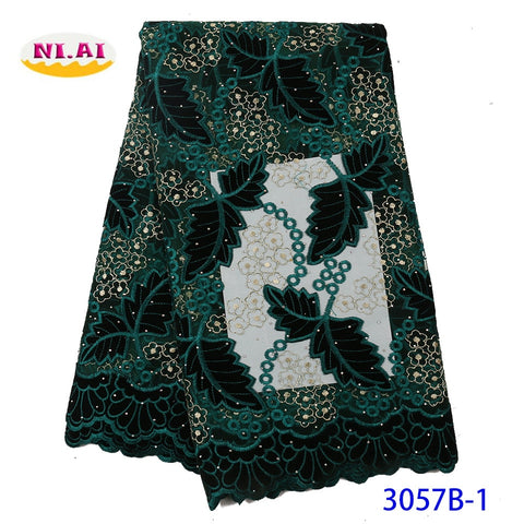 NIAI African Velvet Lace Fabric Embroidered Nigerian French Lace Fabrics 2019 High Quality Lace Material For Dress XY3057B-1