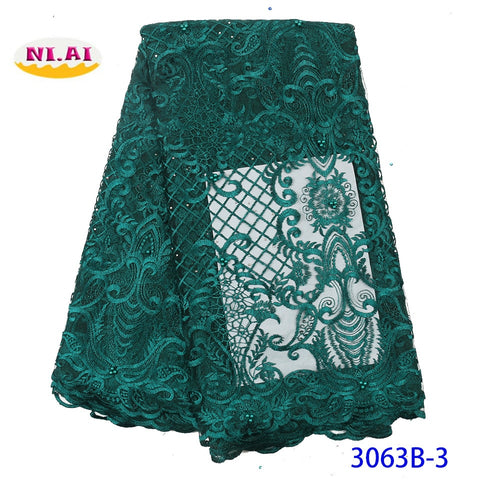 Image of NIAI French Tulle African Lace Fabric 2019 High Quality Lace Embroidered Bridal Nigerian Lace Fabrics For Wowen Dress XY3063B-3