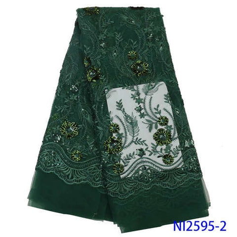 Image of NIAI Green African Lace Fabric 2019 High Quality Seuqins Lace French Nigerian Tulle Lace Fabrics For Women Dress NI2595-1
