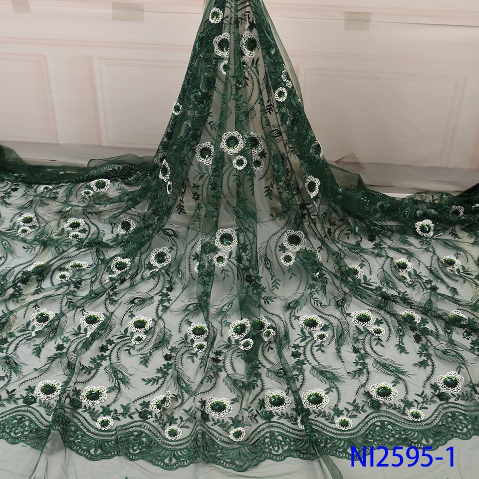 NIAI Green African Lace Fabric 2019 High Quality Seuqins Lace French Nigerian Tulle Lace Fabrics For Women Dress NI2595-1