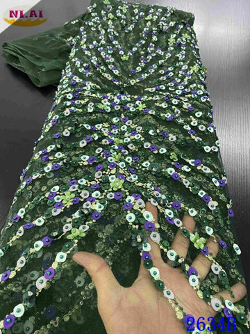 NIAI Latest African Beaded Lace Fabric 2020 High Quality Handmade Lace Material Nigerian Lace Fabrics For Wedding Dress XY2634B