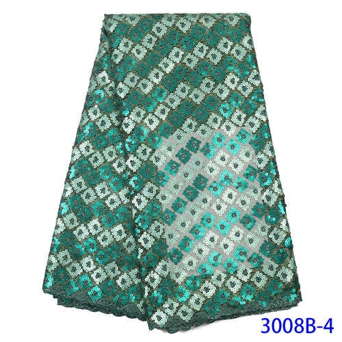 NIAI Latest African Lace Fabric 2019 High Quality Lace Embroidered French Nigerian Mesh Sequins Lace Fabrics For Women XY3008B-5