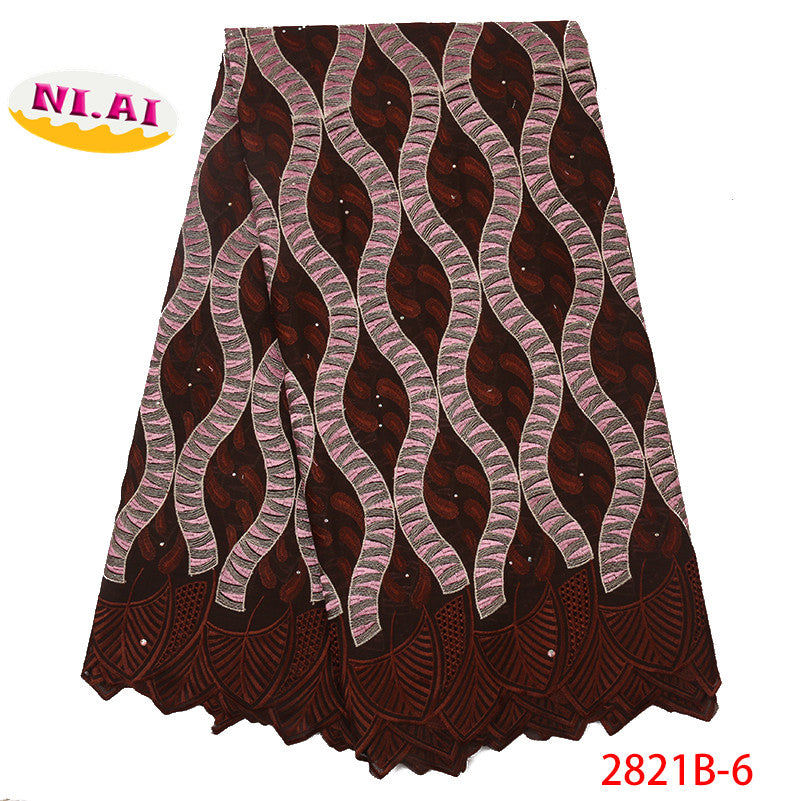 NIAI Latest African Swiss Voile Lace Fabric With Stones High Quality Cotton African Lace For 5yards Woman Party Dress NA2821B-1