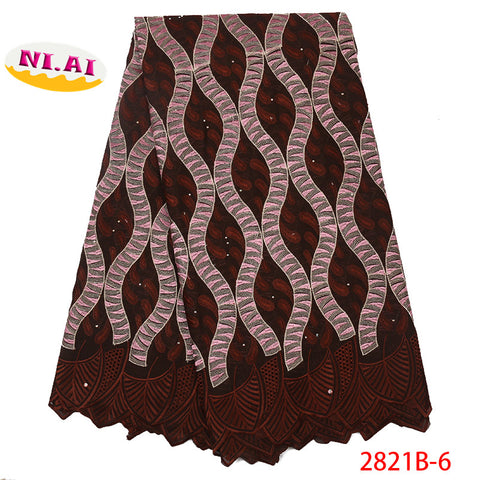 Image of NIAI Latest African Swiss Voile Lace Fabric With Stones High Quality Cotton African Lace For 5yards Woman Party Dress NA2821B-1