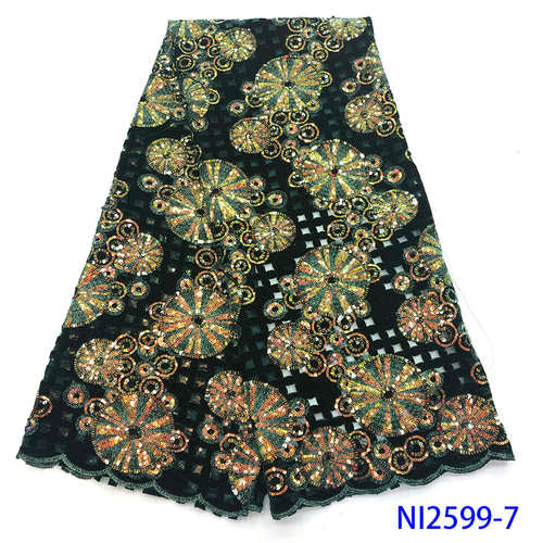 NIAI Latest Design French Velvet Lace Fabric 2019 High Quality Lace African Tulle Lace Sequins Nigerian Lace Fabrics NI2599-1