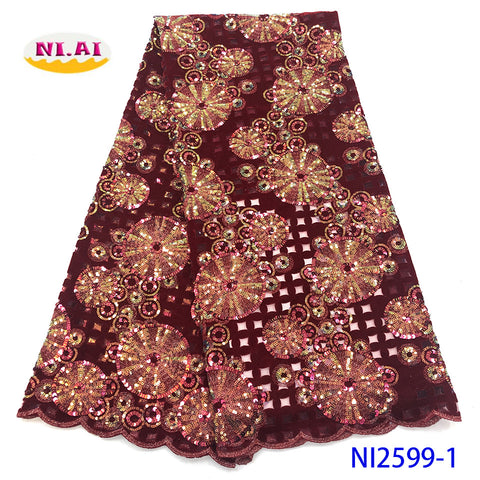 Image of NIAI Latest Design French Velvet Lace Fabric 2019 High Quality Lace African Tulle Lace Sequins Nigerian Lace Fabrics NI2599-1