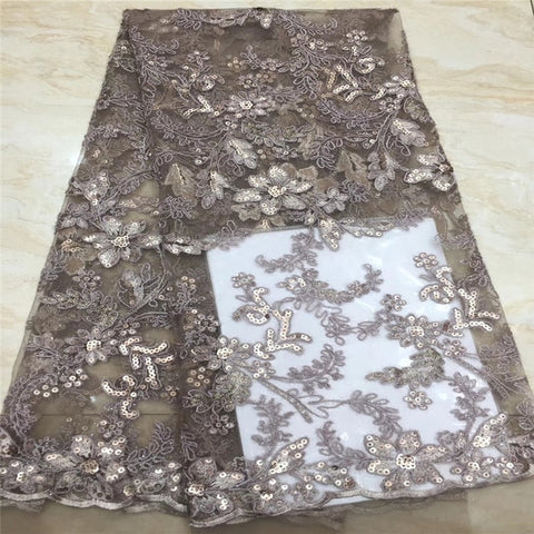 Image of NaXiu 5Yard Soft Hand Cut Elegant African French Lace Fabric Shiny Wedding Nigeria Ghana Celebration Dress With Sequins