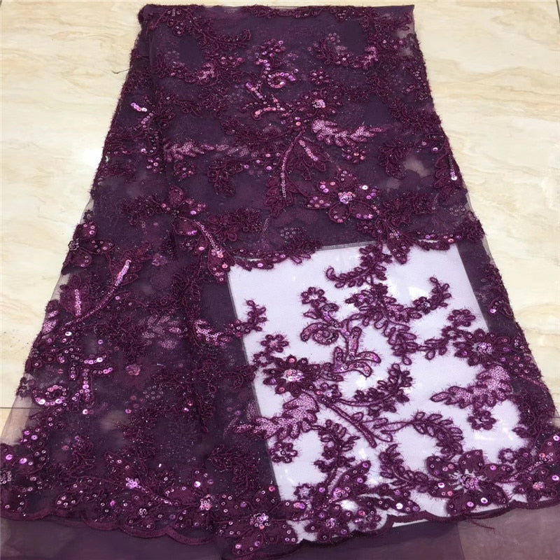 NaXiu 5Yard Soft Hand Cut Elegant African French Lace Fabric Shiny Wedding Nigeria Ghana Celebration Dress With Sequins