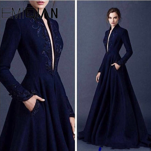 Image of Navy Blue Muslim Evening Dress A-line Long Sleeves Beaded Islamic Dubai Saudi Arabic Long Evening Gown with Plunging V Neck