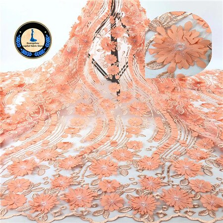 Image of New Africa Lace Fabric 2019 Nigeria lace Embroidery 3D decal High Quality French lace Fabric Used for women Wedding dress