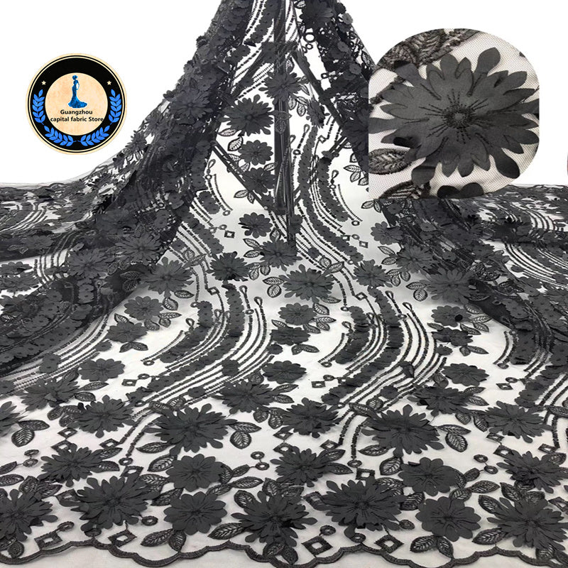 New Africa Lace Fabric 2019 Nigeria lace Embroidery 3D decal High Quality French lace Fabric Used for women Wedding dress