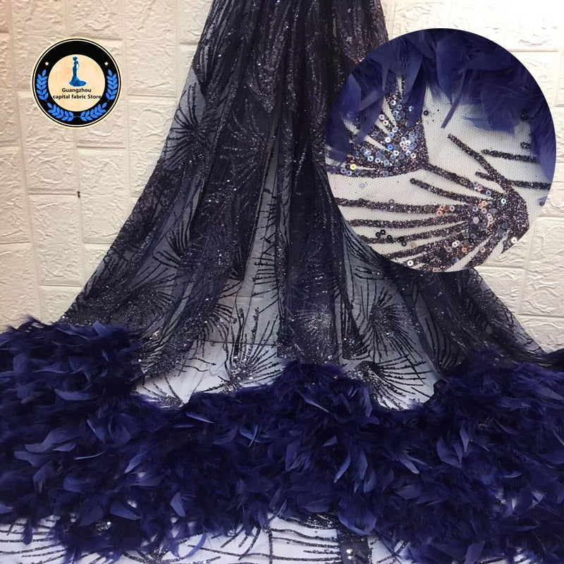 New Africa Lace Fabric High Quality with manual feather Applique French tulle lace sequins Fabric Used for women Wedding dress