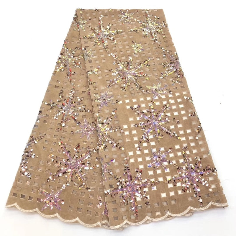 New African lace Fabric French Lace 5 Yards/pcs Hollow out Design Velvet With Sequins fabricUsed for women's party dresses