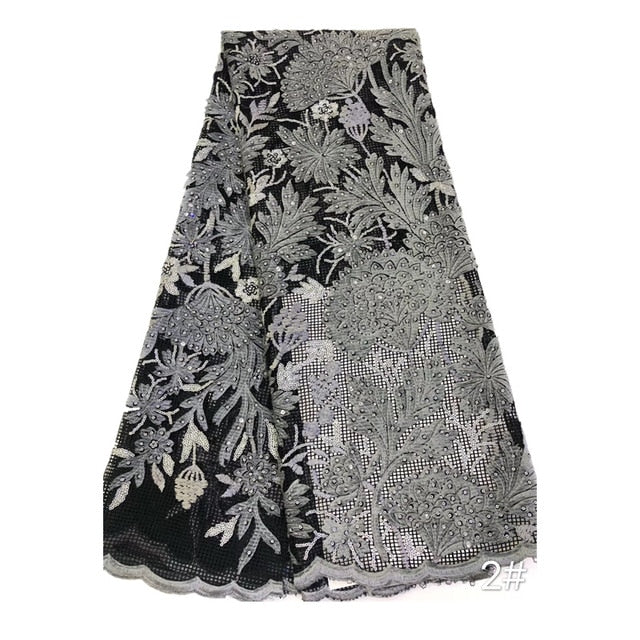 New African lace fabric with high quality sequin embroidery 2020 Nigerian lace fabric for women's wedding party dress