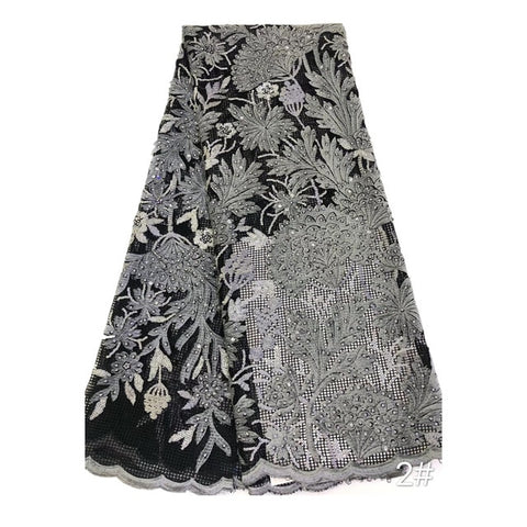 Image of New African lace fabric with high quality sequin embroidery 2020 Nigerian lace fabric for women's wedding party dress