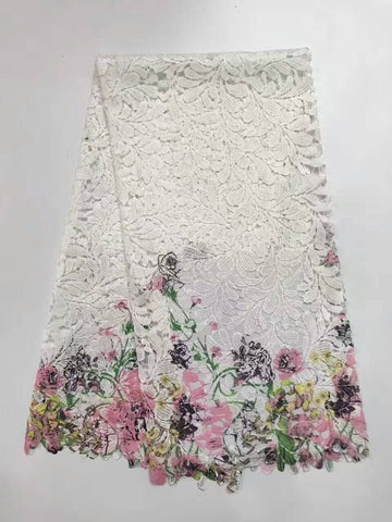 Image of New Arrival African Milk Silk Lace Fabric/High Quality Cord Lace,Guipure Lace Fabric / Multi Colour Water Soluble Lace Fabric AF