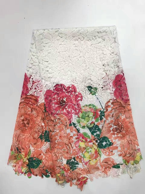 New Arrival African Milk Silk Lace Fabric/High Quality Cord Lace,Guipure Lace Fabric / Multi Colour Water Soluble Lace Fabric AF