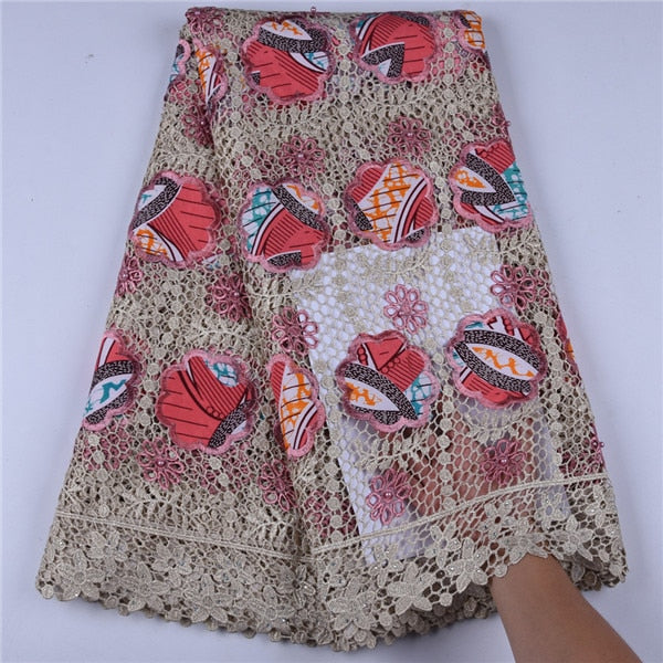 New Arrival African Wax Cord Lace Fabric High Quality Water Soluble Nigerian Embroide Sewing Guipure Lace Fabric With Bead F1691