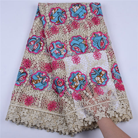Image of New Arrival African Wax Cord Lace Fabric High Quality Water Soluble Nigerian Embroide Sewing Guipure Lace Fabric With Bead F1691