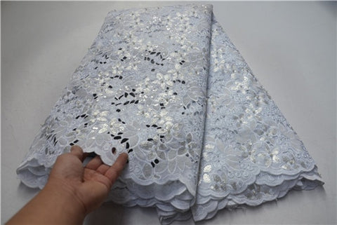 Image of New Arrival High Quality White French Lace Fabric Organza Cord Lace Fabrics With Sequins For Bride Engagement Wedding PSA518-1