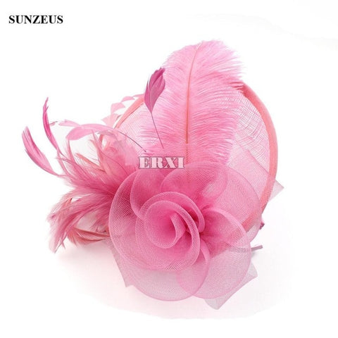 Image of New Arrival Linen Bridal Hats Net Flower Feathers Party Hair Accessories Wedding Fascinator SQN034