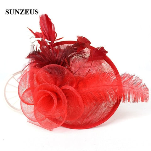 New Arrival Linen Bridal Hats Net Flower Feathers Party Hair Accessories Wedding Fascinator SQN034