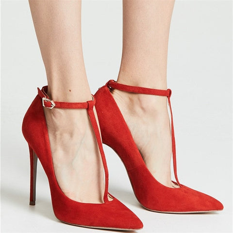 Image of New Arrival Red Suede T-tied Buckle Strappy Pumps Elegant Pointed Toe Thin High Heels Shoes Women Lady Wedding Dress Pumps 2019