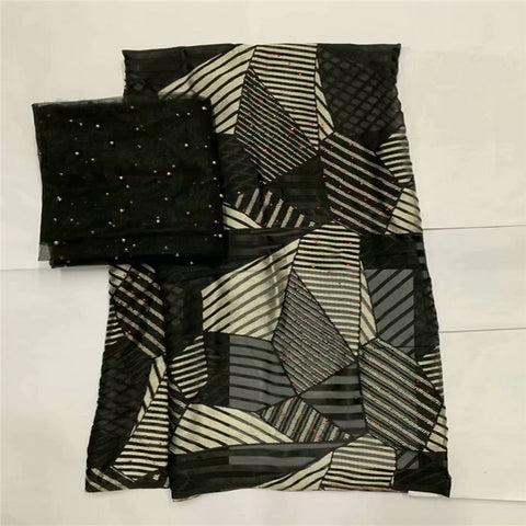 Image of New Arrival satin silk fabric Fashion african wax pattern design Eco-Friendly silk fabric for Party Dress 5+2 yards LXE102723