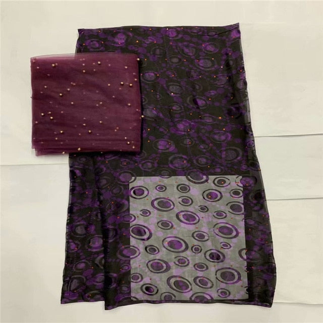 New Arrival satin silk fabric Fashion african wax pattern design Eco-Friendly silk fabric for Party Dress 5+2 yards LXE102723