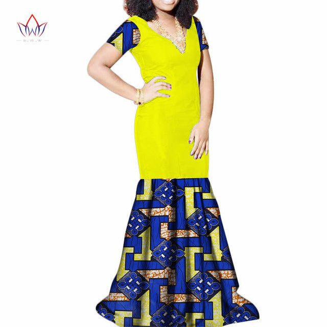 New Bazin Riche Patchwork Dress African Print Mermaid Long Dress for Women Dashiki Plus Size Traditional African Clothing WY3461
