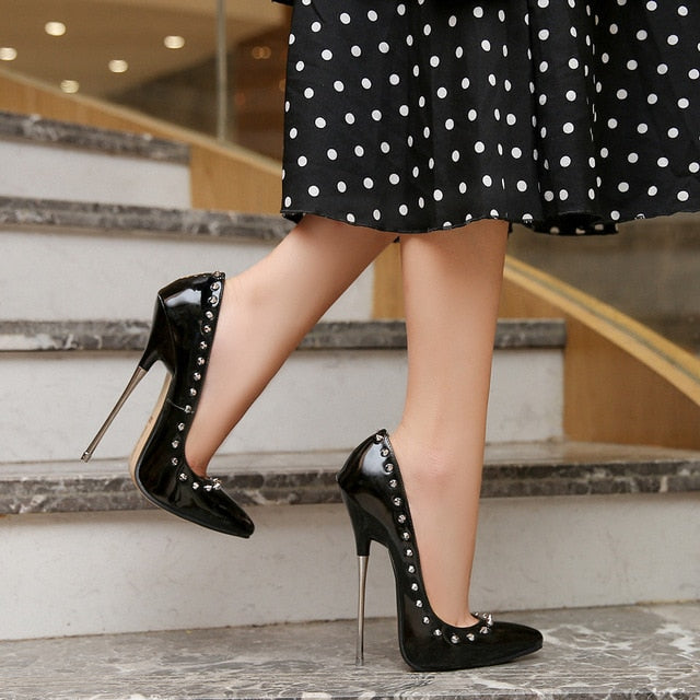 New Classical Elegant Single Women Shoes Super High Heels 16cm Pumps Shoes Patent Leather Point Toe Thin Heels Lady Wedding Shoe