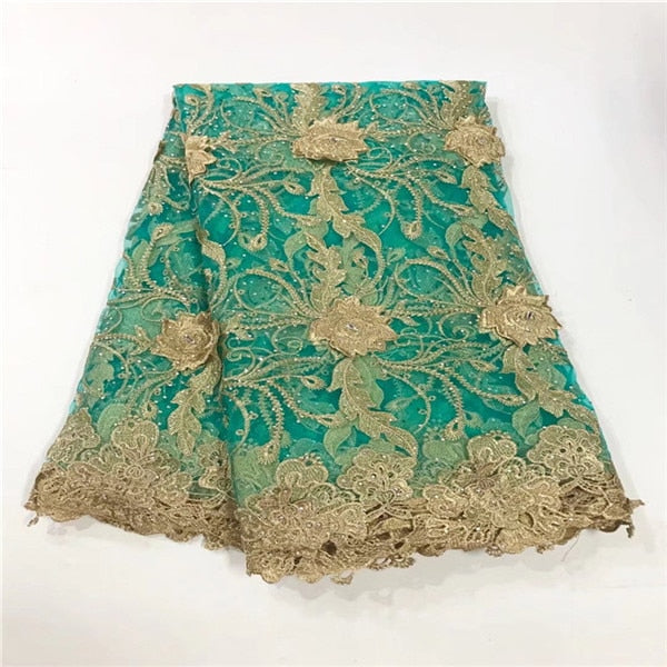 New Design African Embroidery Lace Fabric With Gold Line Chantilly Lace 2018 Fashion African Lace Fabric High Quality For DRESS