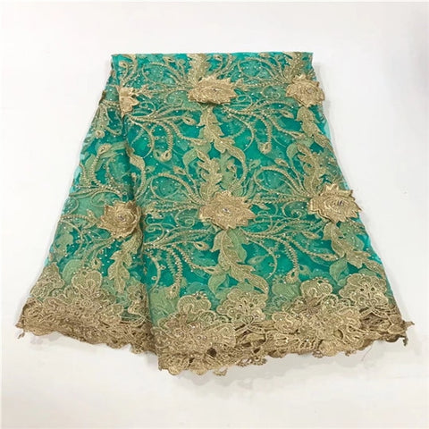 Image of New Design African Embroidery Lace Fabric With Gold Line Chantilly Lace 2018 Fashion African Lace Fabric High Quality For DRESS