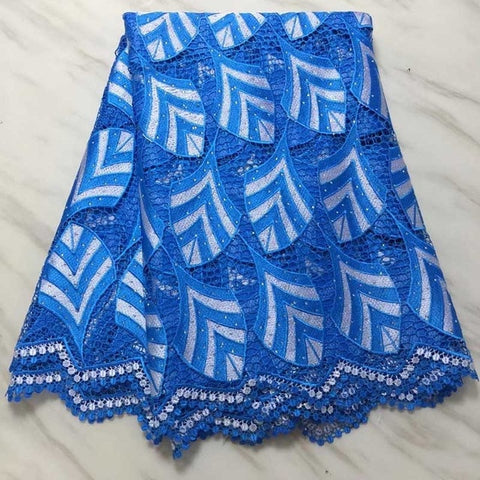 Image of New Design African Lace Fabrics,2018 High Quality Guipure lace fabric Blue Color  Cord Lace for Nigerian Wedding Dress Fabric