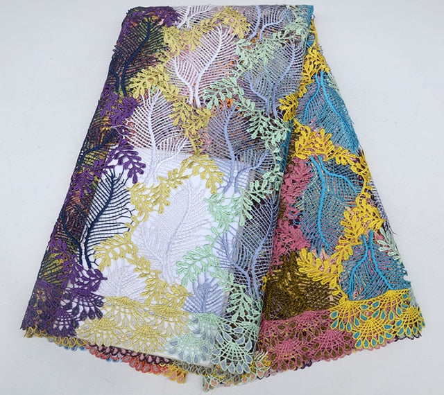 New Design Multicolor African Cord Lace Fabrics High Quality Nigeria Wedding Dress Lace Water Soluble Lace Fabric With Stones