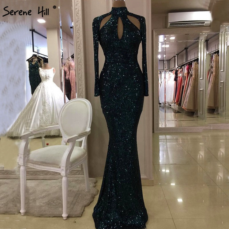 New Designer Green High Neck Sexy Evening Dresses 2018 Sequined Long Sleeves Fashion Luxury Evening Gowns LA6314