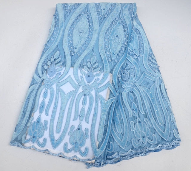 New Designs African Lace velvet Lace Fabric With Beads Embroidery Tulle Lace High Quality for Nigerian Evening Dress