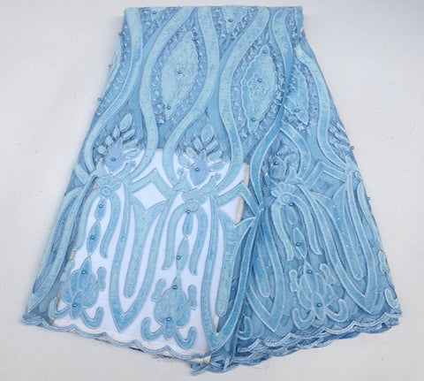 Image of New Designs African Lace velvet Lace Fabric With Beads Embroidery Tulle Lace High Quality for Nigerian Evening Dress