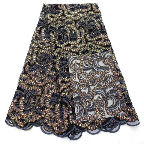 Image of New French Lace Fabric with High Quality African Lace Fabric   sequins design embroidery Fabric Used for women wedding dresses