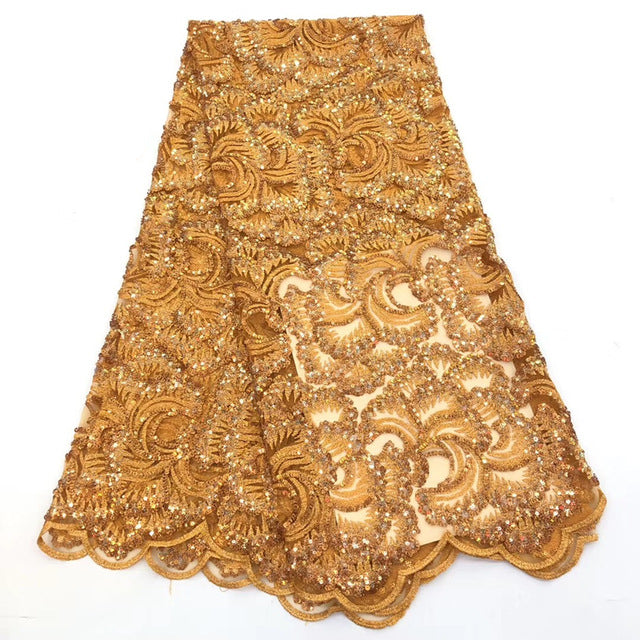 New French Lace Fabric with High Quality African Lace Fabric   sequins design embroidery Fabric Used for women wedding dresses