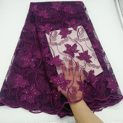 Image of New Purple African Lace Fabric Embroidered Nigerian Guipure for Wedding High Quality 2019 French Tulle Lace Fabric with Beads