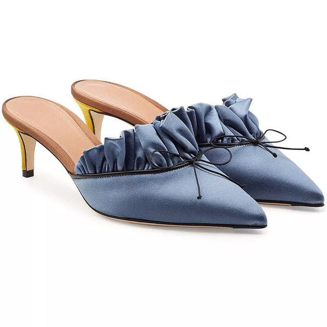 New Summer Ruffles high heel Slippers Women Nude blue Satin high-heeled bowknot ladies Mules Outdoor slip on Slipper Women Shoes