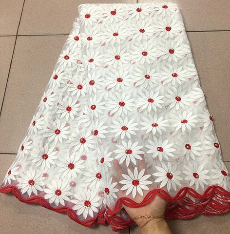 Image of New White+red African Lace Fabrics Embroidered Nigerian Guipure Cord Lace Fabrics High Quality French Lace Fabric With Stones