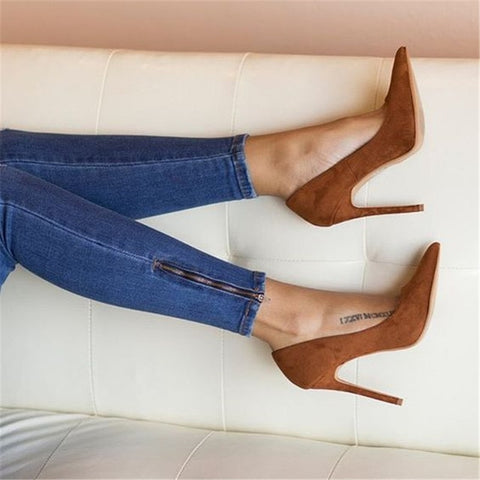 Image of New Women Blue High Heels Stilettos Pumps Sexy Ladies Wedding Strip Dress Shoes Women Suede Red Slip On Pointy Toe Pumps 2019