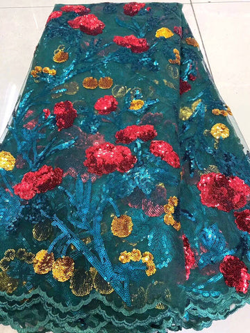 Image of New arrival 2020 High quality african nigerian sequins tulle lace fabric fashion African French lace fabric for dress mv589