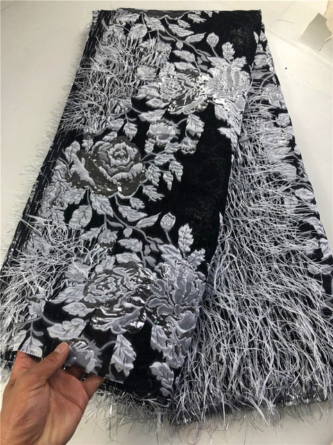 New arrival french net tulle lace african organza lace with sequins high quality african lace fabric for wedding dress  COP-0018