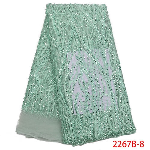 New arrivals high quality French handmake beaded lace fabric for wedding dress hot sale tulle sequins net lace fabric NA2267B-1
