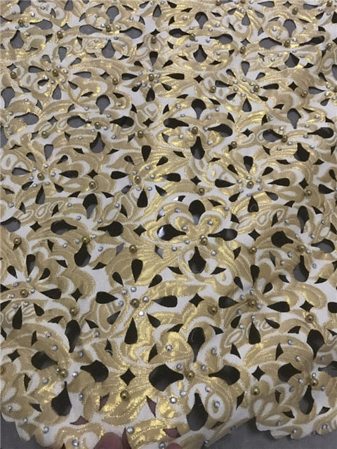 New fashion  nigerian french laser cut lace fabric Embroidered stones  African beads  mesh  Lace Fabric For Par   jcse291
